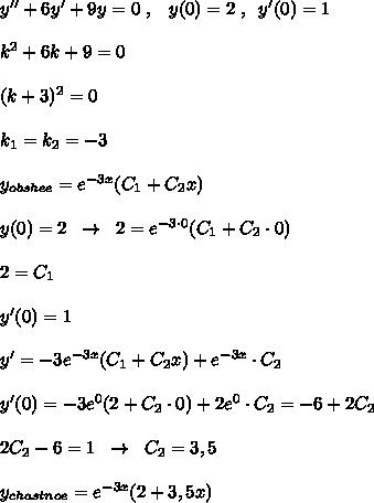 y''+6y'+9y=0\; ,\; \; \; y(0)=2\; ,\; \; y'(0)=1\\\\k^2+6k+9=0\\\\(k+3)^2=0\\\\k_1=k_2=-3\\\\y_{obshee}=e^{-3x}(C_1+C_2x)\\\\y(0)=2\; \; \to \; \; 2=e^{-3\cdot 0}(C_1+C_2\cdot 0)\\\\2=C_1\\\\y'(0)=1\\\\y'=-3e^{-3x}(C_1+C_2x)+e^{-3x}\cdot C_2\\\\y'(0)=-3e^{0}(2+C_2\cdot 0)+2e^{0}\cdot C_2=-6+2C_2\\\\2C_2-6=1\; \; \to \; \; C_2=3,5\\\\y_{chastnoe}=e^{-3x}(2+3,5x)