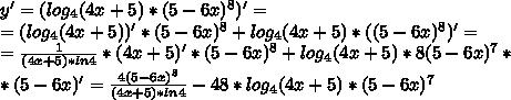 y'=(log_4(4x+5)*(5-6x)^8)'=\\=(log_4(4x+5))'*(5-6x)^8+log_4(4x+5)*((5-6x)^8)'=\\=\frac{1}{(4x+5)*ln4}*(4x+5)'*(5-6x)^8+log_4(4x+5)*8(5-6x)^7*\\ *(5-6x)'=\frac{4(5-6x)^8}{(4x+5)*ln4}-48*log_4(4x+5)*(5-6x)^7