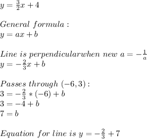 y=\frac{3}{2}x+4\\\\General\ formula:\\y=ax+b\\\\Line\ is\ perpendicular when\ new\ a=-\frac{1}{a}\\y=-\frac{2}{3}x+b\\\\Passes\ through\ (-6,3):\\3=-\frac{2}{3}*(-6)}+b\\3=-4+b\\7=b\\\\Equation\ for\ line\ is\ y=-\frac{2}{3}+7