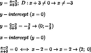 y=\frac{x-2}{x+3};\ D:x+3\neq0\to x\neq-3\\\\y-intercept\ (x=0)\\\\y=\frac{0-2}{0+3}=-\frac{2}{3}\to(0;-\frac{2}{3})\\\\x-intercept\ (y=0)\\\\\frac{x-2}{x+3}=0\iff x-2=0\to x=2\to(2;\ 0)