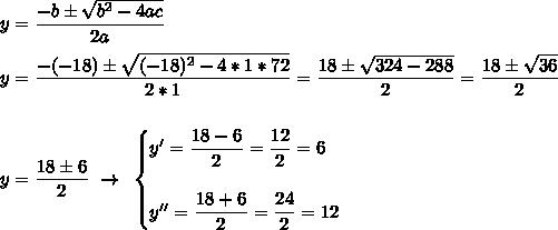 y= \dfrac{-b\pm \sqrt{b^2-4ac} }{2a}\\\\y= \dfrac{-(-18)\pm \sqrt{(-18)^2-4*1*72} }{2*1}= \dfrac{18\pm \sqrt{324-288} }{2}=\dfrac{18\pm \sqrt{36} }{2}\\\\\\y= \dfrac{18\pm6}{2}~\to~\begin{cases}y'= \dfrac{18-6}{2}= \dfrac{12}{2} =6\\\\y''= \dfrac{18+6}{2}= \dfrac{24}{2}=12   \end{cases}