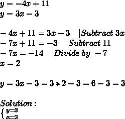 y=-4x+11\y=3x-3\\\-4x+11=3x-3\ \ \ |Subtract\ 3x\-7x+11=-3\ \ \ |Subtract\ 11\-7x=-14\ \ \ |Divide\ by\ -7\x=2\\y=3x-3=3*2-3=6-3=3\\Solution:\ \left \{ {{y=3} \atop {x=2}} \right.