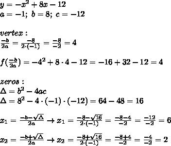 y=-x^2+8x-12\\a=-1;\ b=8;\ c=-12\\\\vertex:\\\frac{-b}{2a}=\frac{-8}{2\cdot(-1)}=\frac{-8}{-2}=4\\\\f(\frac{-b}{2a})=-4^2+8\cdot4-12=-16+32-12=4\\\\zeros:\\\Delta=b^2-4ac\\\Delta=8^2-4\cdot(-1)\cdot(-12)=64-48=16\\\\x_1=\frac{-b-\sqrt\Delta}{2a}\to x_1=\frac{-8-\sqrt{16}}{2\cdot(-1)}=\frac{-8-4}{-2}=\frac{-12}{-2}=6\\\\x_2=\frac{-b+\sqrt\Delta}{2a}\to x_2=\frac{-8+\sqrt{16}}{2\cdot(-1)}=\frac{-8+4}{-2}=\frac{-4}{-2}=2