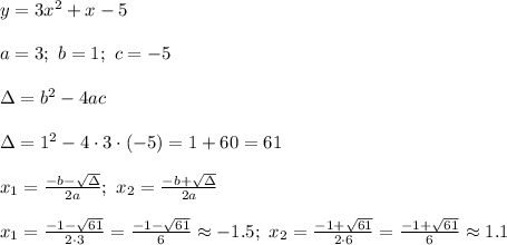 y=3x^2+x-5\\\\a=3;\ b=1;\ c=-5\\\\\Delta=b^2-4ac\\\\\Delta=1^2-4\cdot3\cdot(-5)=1+60=61\\\\x_1=\frac{-b-\sqrt\Delta}{2a};\ x_2=\frac{-b+\sqrt\Delta}{2a}\\\\x_1=\frac{-1-\sqrt{61}}{2\cdot3}=\frac{-1-\sqrt{61}}{6}\approx-1.5;\ x_2=\frac{-1+\sqrt{61}}{2\cdot6}=\frac{-1+\sqrt{61}}{6}\approx1.1