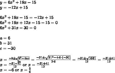 y=6x^2+19x-15 \\y=-12x+15 \\ \\6x^2+19x-15=-12x+15 \\6x^2+19x+12x-15-15=0 \\6x^2+31x-30=0 \\ \\ a=6 \\ b=31 \\ c=-30 \\ \\ x=\frac{-b \pm \sqrt{b^2-4ac}}{2a}=\frac{-31 \pm \sqrt{31^2-4 \cdot 6 \cdot (-30)}}{2 \cdot 6}=\frac{-31 \pm \sqrt{1681}}{12}=\frac{-31 \pm 41}{12} \\ x=\frac{-31 -41}{12} \ \hbox{or} \ x=\frac{-31+41}{12} \\x=-6 \ \hbox{or} \ x=\frac{5}{6}