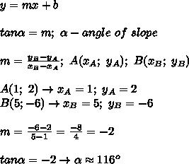 y=mx+b\\\\tan\alpha=m;\ \alpha-angle\ of\ slope\\\\m=\frac{y_B-y_A}{x_B-x_A};\ A(x_A;\ y_A);\ B(x_B;\ y_B)\\\\A(1;\ 2)\to x_A=1;\ y_A=2\\B(5;-6)\to x_B=5;\ y_B=-6\\\\m=\frac{-6-2}{5-1}=\frac{-8}{4}=-2\\\\tan\alpha=-2\to \alpha\approx116^o