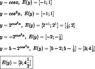 y = cosx,  E(y) = -1;1 y = cos^3x,  E(y) = -1;1 y = 2^{cos^3x},  E(y) = 2^{-1}; 2^1 = frac{1}{2}; 2 y = -2^{cos^3x},  E(y) = -2; -frac{1}{2} y = 5-2^{cos^3x},  E(y) = 5-2; 5-frac{1}{2} = 3; 4frac{1}{2} boxed{ E(y) = 3; 4frac{1}{2}}