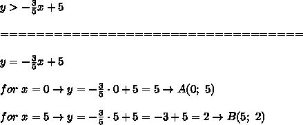 y > -\frac{3}{5}x+5\\\\==================================\\\\y = -\frac{3}{5}x+5\\\\for\ x=0\to y=-\frac{3}{5}\cdot0+5=5\to A(0;\ 5)\\\\for\ x=5\to y=-\frac{3}{5}\cdot5+5=-3+5=2\to B(5;\ 2)