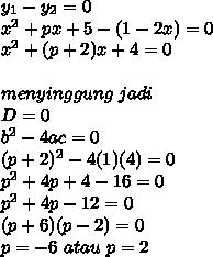 y_1-y_2=0\\x^2+px+5-(1-2x)=0\\x^2+(p+2)x+4=0\\\\menyinggung\ jadi\ \\D=0\\b^2-4ac=0\\(p+2)^2-4(1)(4)=0\\p^2+4p+4-16=0\\p^2+4p-12=0\\(p+6)(p-2)=0\\p=-6\ atau\ p=2