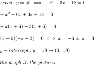 zeros:y=o0\iff-x^2-3x+18=0\\\\-x^2-6x+3x+18=0\\\\-x(x+6)+3(x+6)=0\\\\(x+6)(-x+3)=0\iff x=-6\ or\ x=3\\\\y-intercept:y=18\to(0;\ 18)\\\\the\ graph\ in\ the\ picture.